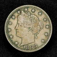1888 5c LIBERTY HEAD V NICKEL, ORIGINAL VF+ COIN LOT#V801