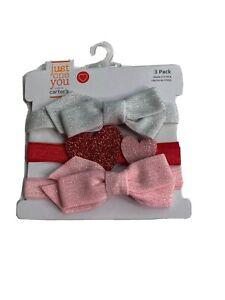 Just One YouBaby Girls' 3pk Glitter Bow Headwrap Valentine's Day headband NEW