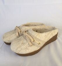 558b203cf95a67 American Eagle Ivory Sweater Clogs Mules Shoes Fur Lined Womens Size 6 LKNW