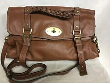 Mulberry Alexa Brown Oversized Soft Buffalo Leather Satchel Hand Bag Auth $1650