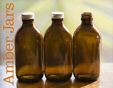 2 x 300ml Amber Glass Bottle with Aluminium lids - massage oil, reed diffuser,