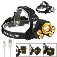 Zoomable 100000LM 5 LED USB Headlight Super Bright 2X18650 5 Modes Light KS