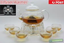 Glass Teapot Tea Set Heart-Shaped Infuser Warmer + 6 Double Wall Cups + Candles