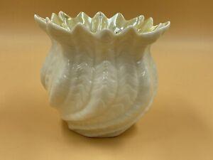 Belleek Crimped Swirl Vase  Cache Pot  Planter Gold Mark