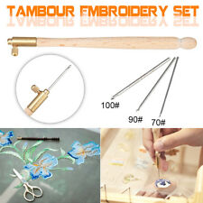 4Pcs Tambour Hook Handle Needle 70/90/100 French Embroidery Crochet Flower Bead