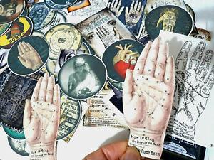 50 Vintage Gypsy Palmistry Fortune Telling Ephemera Scrapbook kits,journal card