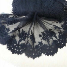 1yd Floral Embroidered Tulle Trim Black Lace Wedding Dress Clothes Sewing Craft