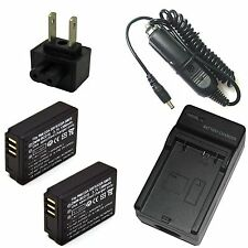 Charger + 2x Battery Pack for Panasonic Lumix DMC-TZ1 DMC-TZ2 DMC-TZ3 DMC-TZ4