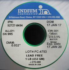 "Indium Lead-Free Water-Soluble / Cw301 / Sn99 Cu0.5 / .032"" / 3% / 52727-0454"