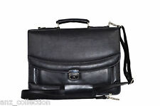 Deluxe Black Messenger Shoulder Laptop Office Flapover Briefcase Leather Bag