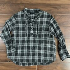 Madewell Women's Size Medium Black Gray Terrace Lace Up Shirt In Owens Plaid Top