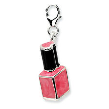 Enamel Pink Nail Polish Bottle Charm .925 Sterling Silver Click On Amore La Vita