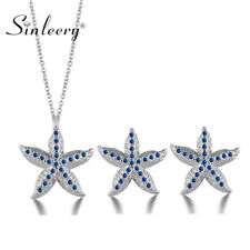 Gorgeous Rhinestone Starfish Pendant Necklace Earrings Jewelry Set 3 Colors