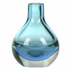 CASAMOTION Handmade Art Solid Color Glass Bud Vase, Gift Box, Blue