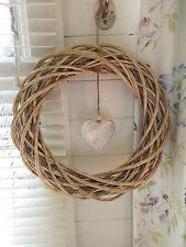 Natural Round Wicker Wreath with White Wooden heart detail 40 x 40 cm