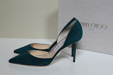 New sz 8.5 / 38.5 Jimmy Choo Addison Teal Suede D'Orsay Pointed Toe Pump Shoes