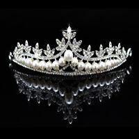 Crystal Rhinestone Pearl Tiara Hair Accessories Crown Wedding Bridal Headband uk