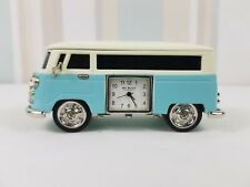 WM Widdop Miniature  Metal Clock Camper Van Blue