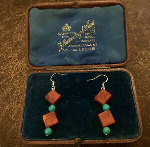 925 SILVER RED CORAL AND TURQUOISE HOWLITE BEAD  EARRINGS