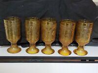 Vintage Amber American Concord  Brockway 5 Glasses stemmed