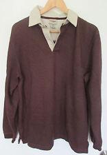 LL BEAN Men's Henley Thermal Fleece Shirt Collar Size M Burgundy EUC