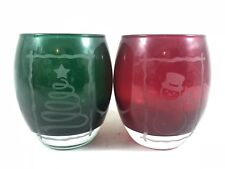 PartyLite HOLIDAY TEALIGHT SET Candle Holders ETCHED GLASS XMas Tree Snowman
