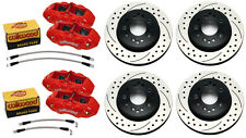 WILWOOD DISC BRAKE SET,D8-4 RED CALIPERS,DRILLED ROTORS,65-82 CORVETTE C-2,C-3
