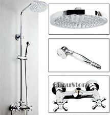 Double Handle Chrome Wall Mounted Bathroom Rainfall Shower Faucet Set B118
