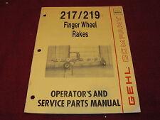 Gehl 217219 Finger Wheel Rakes Dealers Parts Book Amp Operators Manual