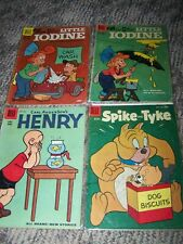 Lot of 4 Vintage 10 Cent Comic Books Dell: Little Iodine, Henry, Spike and Tyke