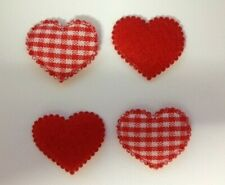 25 Red Gingham Fabric Heart Valentine's Day Card Making Craft Embellishments