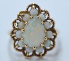 ANTIQUE ART DECO 18k Yellow Gold and Opal Cocktail Ring 3.4 Gr 750