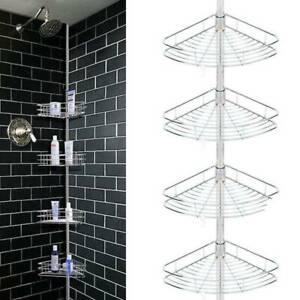 4 Layers Shower Corner Pole Caddy Shelf Bathroom Wall Metal Storage Rack Holder