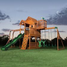 Cedar Swing Set/Play Set Playground Large clubhouse Multiple swings