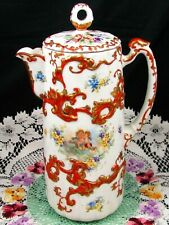 ASIAN STYLE COCOA POT WITH CUPIDS & BEADED FLORAL RAISED ORANGE GOLD DESIGNS