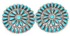 Navajo Handmade Turquoise Sterling Silver Cluster Post Earrings By Mathilda B