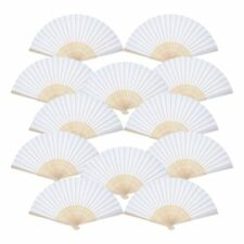 12 Pack Hand Held Fans White Silk Bamboo Folded Fan for Church Wedding Gift Q8u9