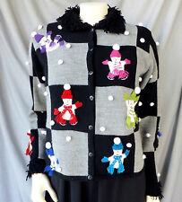 Medium Womens Winter Holiday Cardigan Ugly Christmas Sweater Snowmen Black Grey
