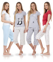Ladies Short Sleeve Love Cotton Cropped PJ'S Set Nightwear Crop Pyjamas