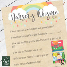 Baby Shower Games Nursery Rhyme Quiz Game Rainbow Craft Style New Mum To Be