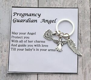 Mum-to-be pregnancy guardian angel wing keyring -- Baby shower gift