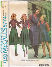 Vtg 70s Back Wrap Jumper Skirt Button Waistband McCall 5774 Sewing Pattern Sz 16