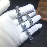 "10Ct  Round Cut VVS1/D Diamond Tennis One Row Bracelet 6.5""14K White Gold Finish"