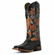 Ariat 10031653 Women's Black Rose Fonda Leather Wide Square Toe Cowgirl Boots
