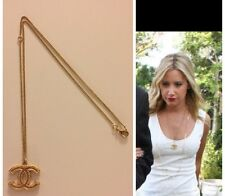 CHANEL Authentic Gold Logo Adjustable Necklace Pendant