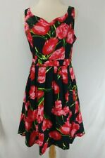 New Pinup Fashion Dress Women's Large Black With Red And Pink Flowers