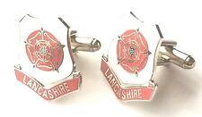 Lancashire Rojo Rosado Esmalte Escudos Gemelos (N84) Regalo En Caja