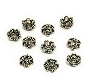 oxidized sterling silver 925 bead caps 6mm flower design