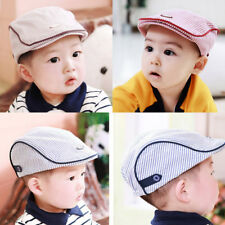 Child Baby Kids Striped Beret Cap Boy Girl Infant Toddler Peaked Cabbie Flat Hat