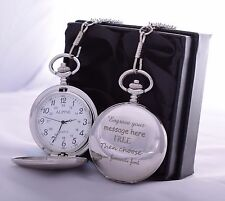 LASER Engraved Pocket Watch in Silk Gift Box For Birthday/Valentines/Dad/Son